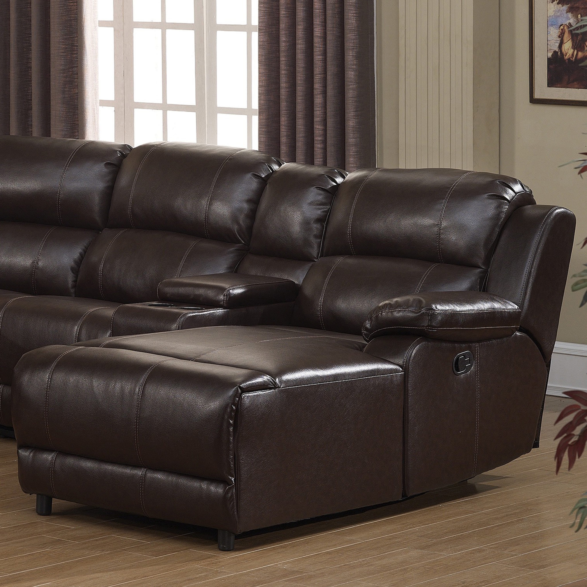 reclining back item ashley chaise signature press with by sectional products damacio leather design brown dark