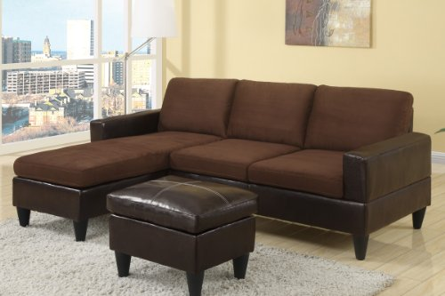 Cool Poundex Compact Reversible Sectional With Ottoman Chocolate Faux Leather Short Links Chair Design For Home Short Linksinfo