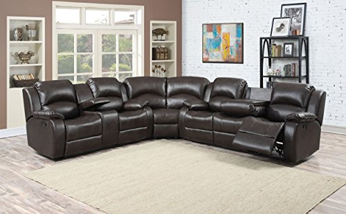 Peachy Christies Home Living Samara Dark Sectional With 4 Recliners Sofa Loveseat Set Brown 3 Piece Gmtry Best Dining Table And Chair Ideas Images Gmtryco