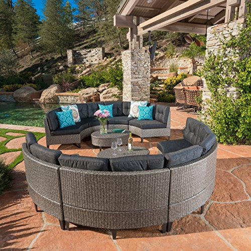 Amazing Christopher Knight Home Currituck Outdoor Wicker Patio Furniture 10 Piece Black Circular Sofa Set With Water Resistant Cushions Download Free Architecture Designs Embacsunscenecom