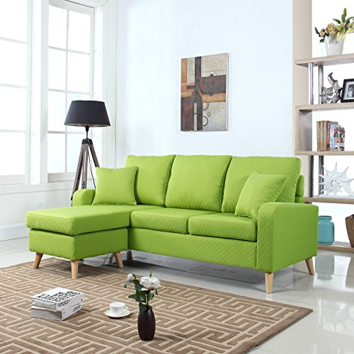 Green Sectional Sofa with Reversible Chaise