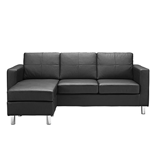 Divano Roma Furniture Modern Bonded Leather Sectional Sofa - Small Space  Configurable Couch