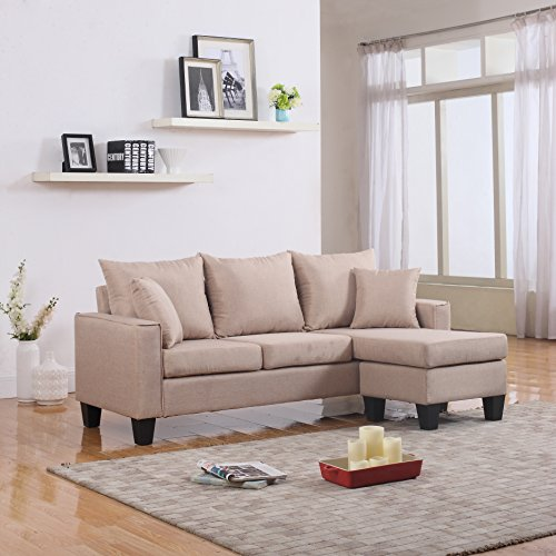Linen Sectional With Reversible Chaise
