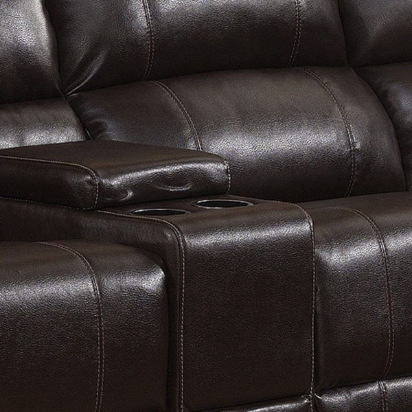 Reclining Sectional Dark Brown - Center Console