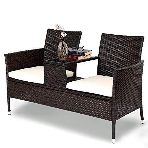 Tangkula Outdoor Furniture Set Patio Conversation Set with Removable  Cushions & Table Wicker Modern Sofas for Garden Lawn Backyard Outdoor Chat  Set ...